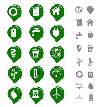 Ecology and green environment icon and emblem set Illustration