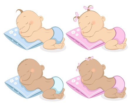 baby playing toy: Sleeping babies boy and girl in blue and pink colors Set 2 Illustration