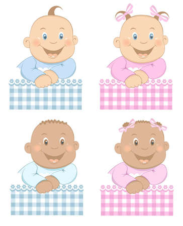 baby playing toy: Funny babies boy and girl with pattern in blue and pink colors Set 3 Illustration