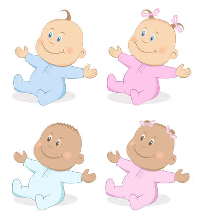 baby playing toy: Happy babies boy and girl in blue and pink colors Set 4 Illustration