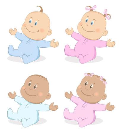 Feliz niño y una niña los bebés en colores azul y rosa Set 4
