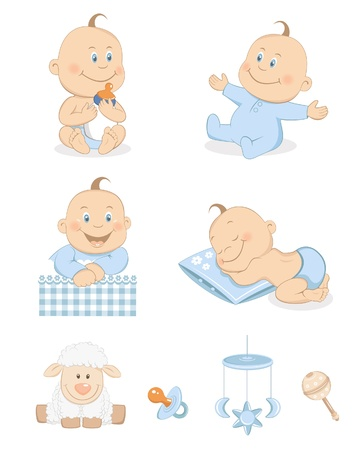 Baby boy with toys and accessories in blue color Vector