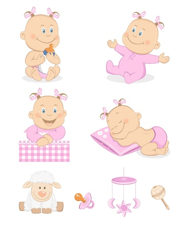 Baby girl with toys and accessories in pink color Vector