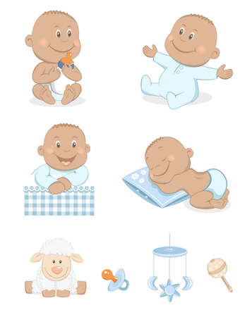 Black baby boy with toys and accessories in blue color Stock Vector - 12632989