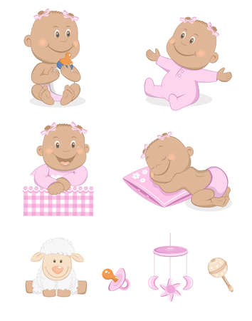 baby playing toy: Black baby girl with toys and accessories in pink color