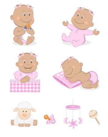 ovejita bebe: Ni�a negro con juguetes y accesorios en color rosa