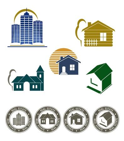 logo batiment: L'embl�me de l'immobilier et jeu de timbres Illustration