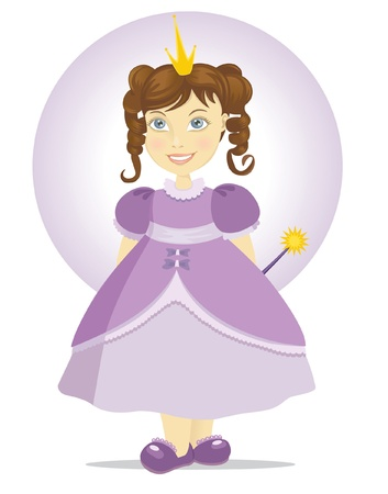Princess baby dressed in purple with a magic wand Vector