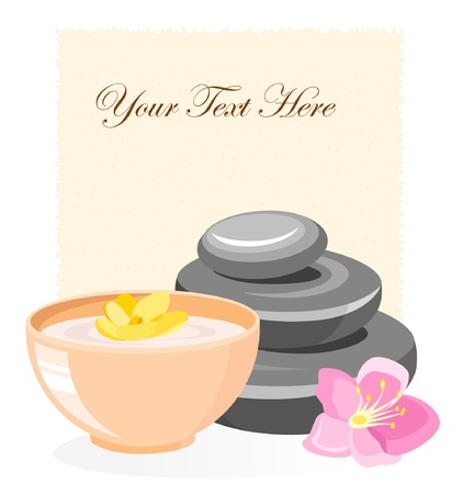 lily flowers set: SPA and body care icon with stones and flowers