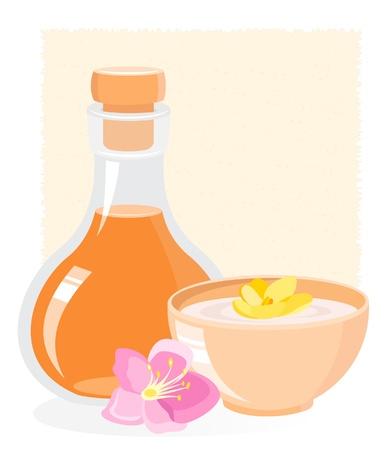massage therapie: SPA icoon met olie en bloemen
