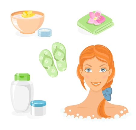 woman shower: Bath and body care icon set