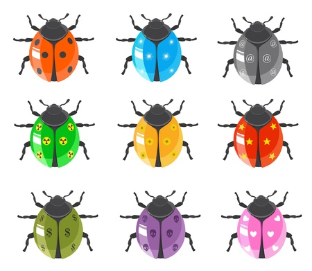 Ladybug Insect Glossy Icon Set Vector