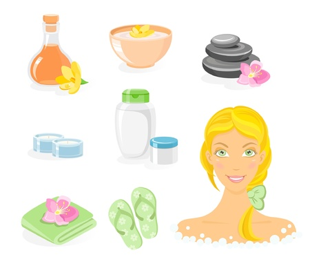 towel  spa  bathroom: SPA and body care icon with blond girl set