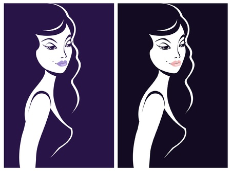 Beautiful woman shadow portrait Vector