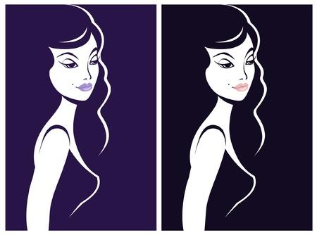 eye shadow: Beautiful woman shadow portrait Illustration