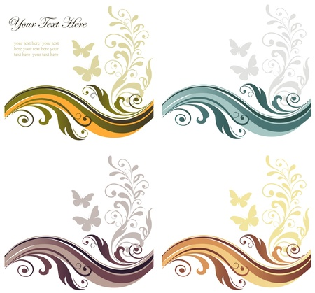 Four season floral graphic abstract background