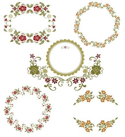Vintage floral graphic collection. Spring set