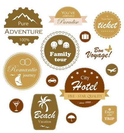 voyage: Conjunto de etiquetas de viajes y vacaciones, escudos y emblemas Vectores
