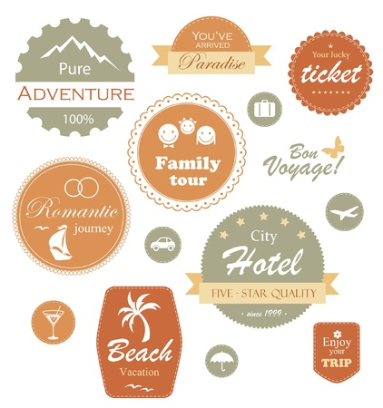 Travel and vacation label, badge and emblem set Vector