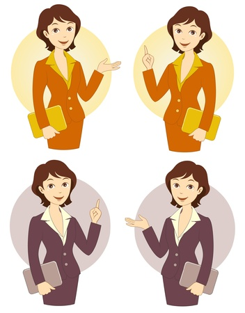 Cartoon businesswoman set