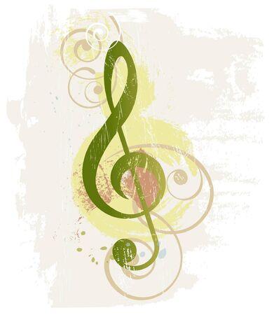 clave de sol: Grunge fondo musical con clave de sol Vectores