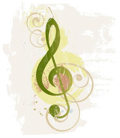 clef: Grunge music background with treble clef Illustration