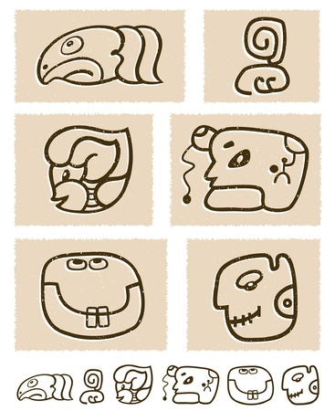 Aztec style comic icon set Stock Vector - 13728343