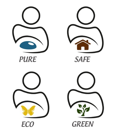 environmental awareness: Eco green and environment protection icon set