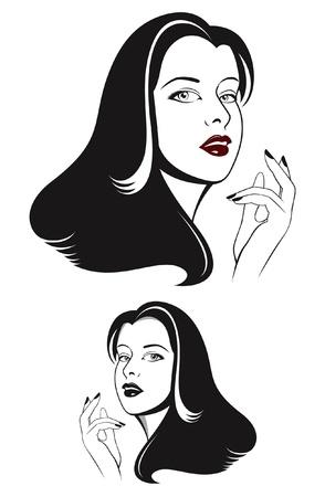 long black hair: Glamour woman face with long black hair Illustration