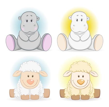 baby lamb: Cartoon hippo and sheep baby toy Illustration