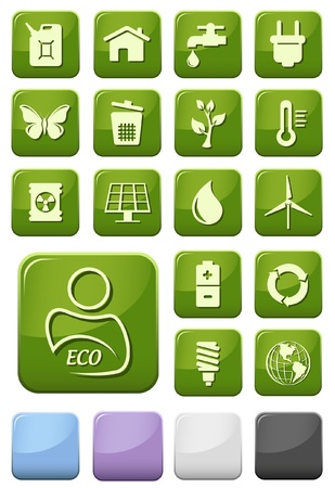 Ecology and green environment buttons set