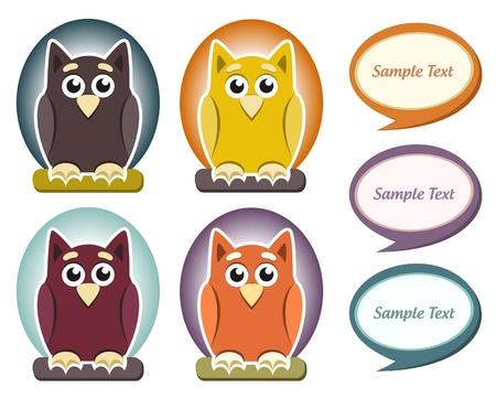Cartoon owl with speech bubble Stock Vector - 14054248