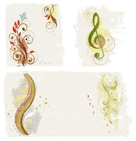 chiave di violino: Astratti elementi di design grunge impostato Vettoriali