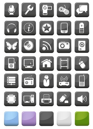 Web icons and multimedia buttons set Vector
