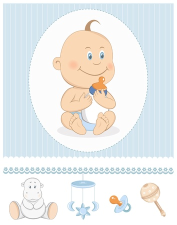 Cartoon baby boy with milk bottle and toy icons Vector