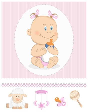 Cartoon baby girl with milk bottle and toy icons
