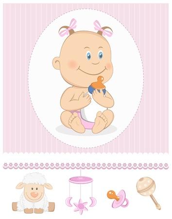 Niña de dibujos animados con los iconos de botellas de leche y el juguete