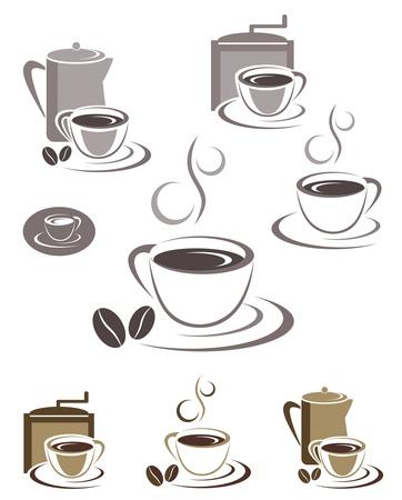 młynek do kawy: Ikony filiżanki i scenografia emblematów. Edytowalne ilustracji Ilustracja