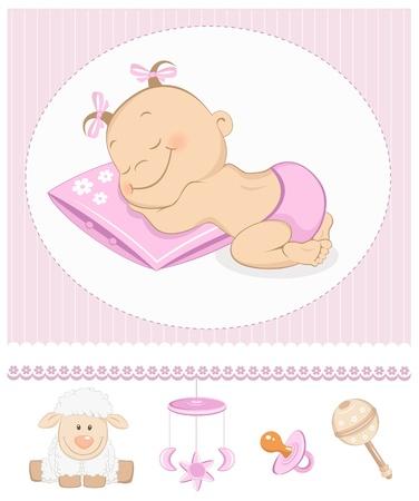 Schlafen sweet girl Ankunft Ankündigung. Fotorahmen mit Baby-Spielzeug