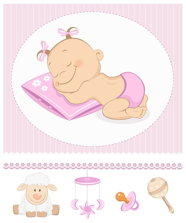 baby sleeping: Sleeping sweet girl arrival announcement. Photo frame with baby toys Illustration