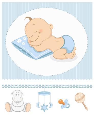 baby scrapbook: Schlafender Knabe Ankunft Ank�ndigung. Fotorahmen mit Baby-Spielzeug