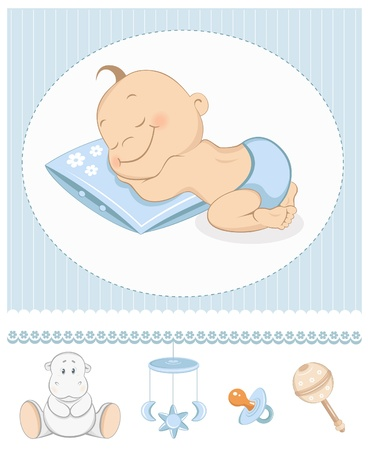 baby illustration: Sleeping boy arrival announcement. Photo frame with baby toys