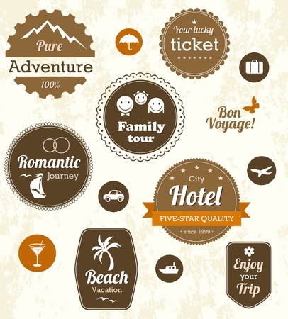 Retro travel labels Stock Vector - 14605636