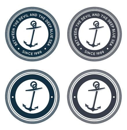 ancre marine: Emblème nautique avec ancre Illustration