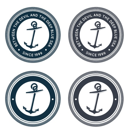 anchor drawing: Nautical emblem with anchor