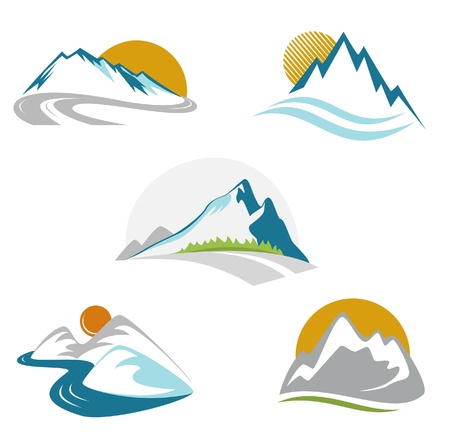montagne: Blue mountains emblema set Vettoriali