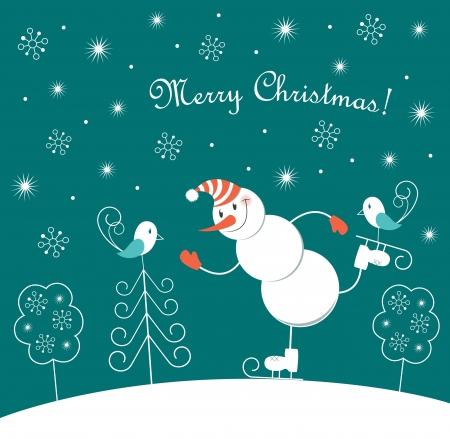 winter fun: Kerst schaatsen Gelukkige Sneeuwman