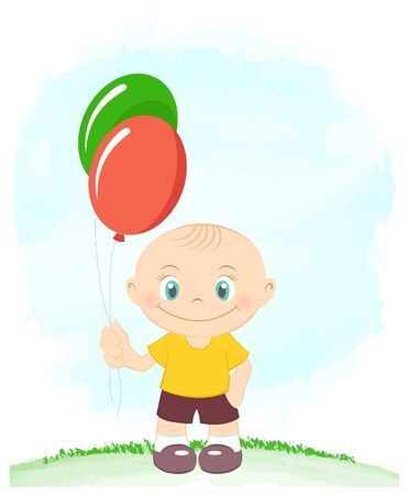 Little boy with toy balloons Stock Vector - 14872726