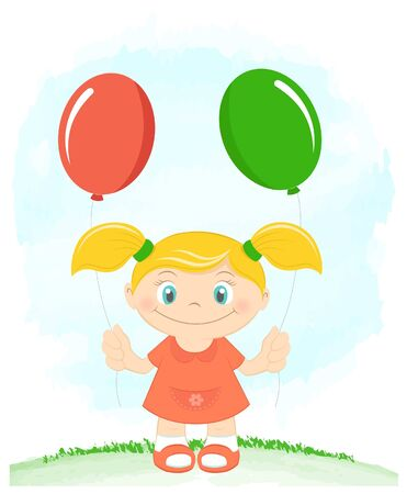 Little girl with toy balloons Stock Vector - 14872730