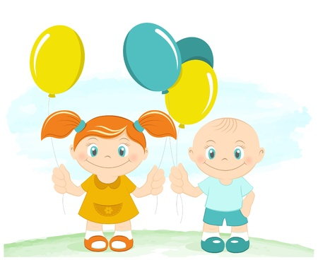 Happy kids with toy balloons Stock Vector - 14872736